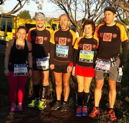 Rodrigues, Monteiro, Mourato e Correiana fantástica Maratona de Sevilha 2015