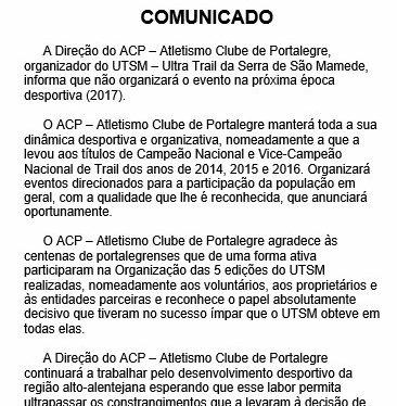 Comunicado da Direção doACP